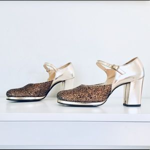 60s Gold Mary Janes Ankle Straps Chunky Shoes 8